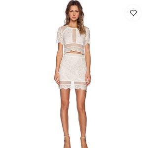 Lovers + Friends Ivory Lace Ella Mini Skirt